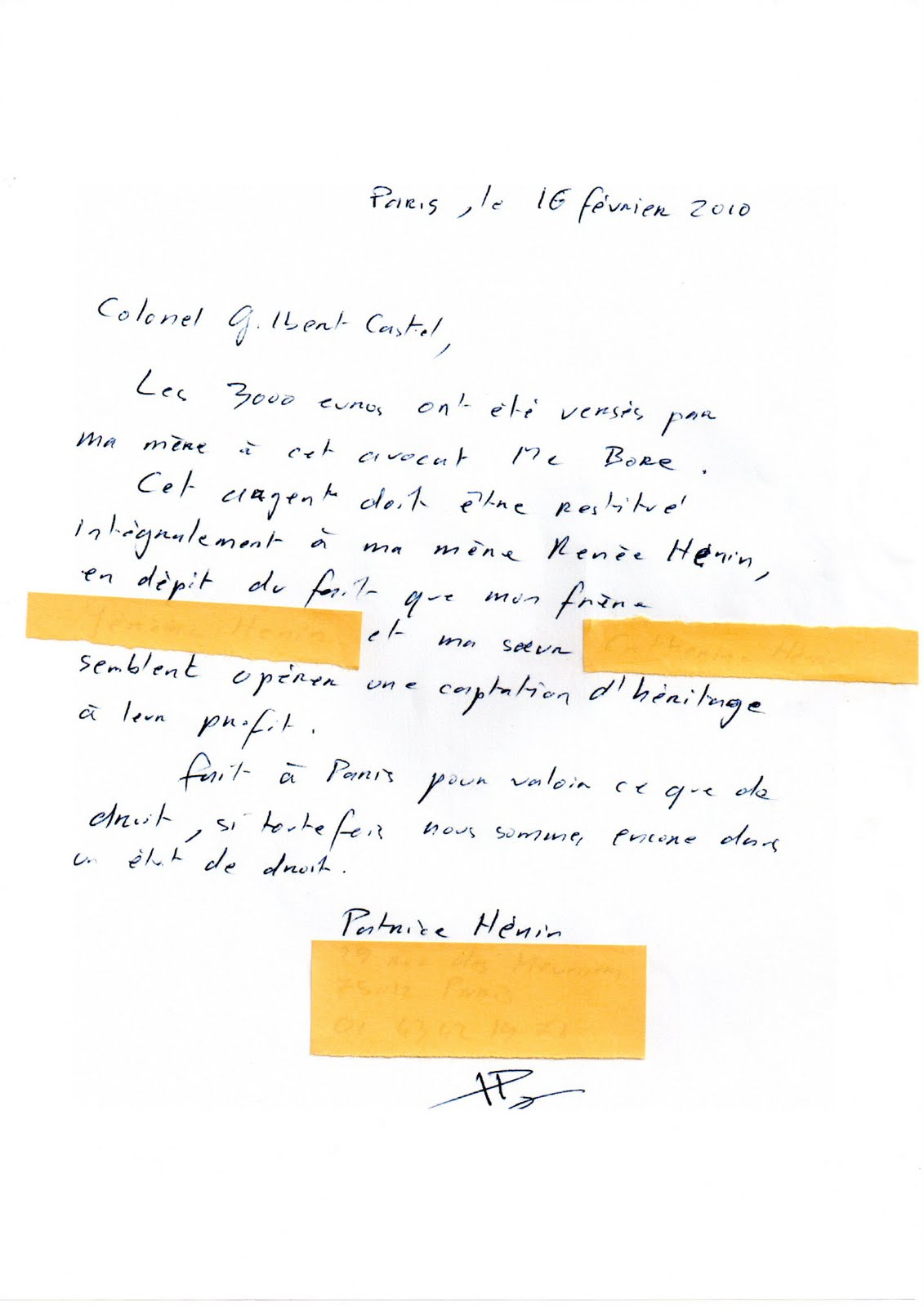 exemple de courrier porte fort