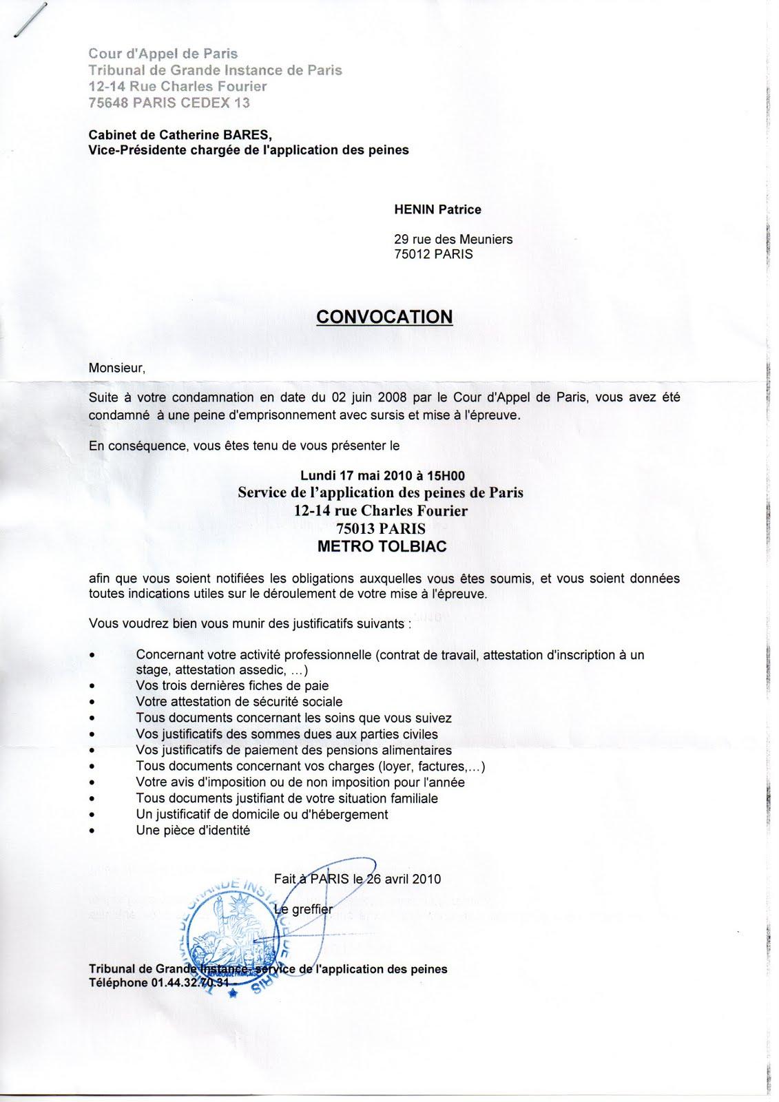 051 convocation de la juge catherine bar s 17 mai 2010 - Coups et blessures volontaires code penal ...