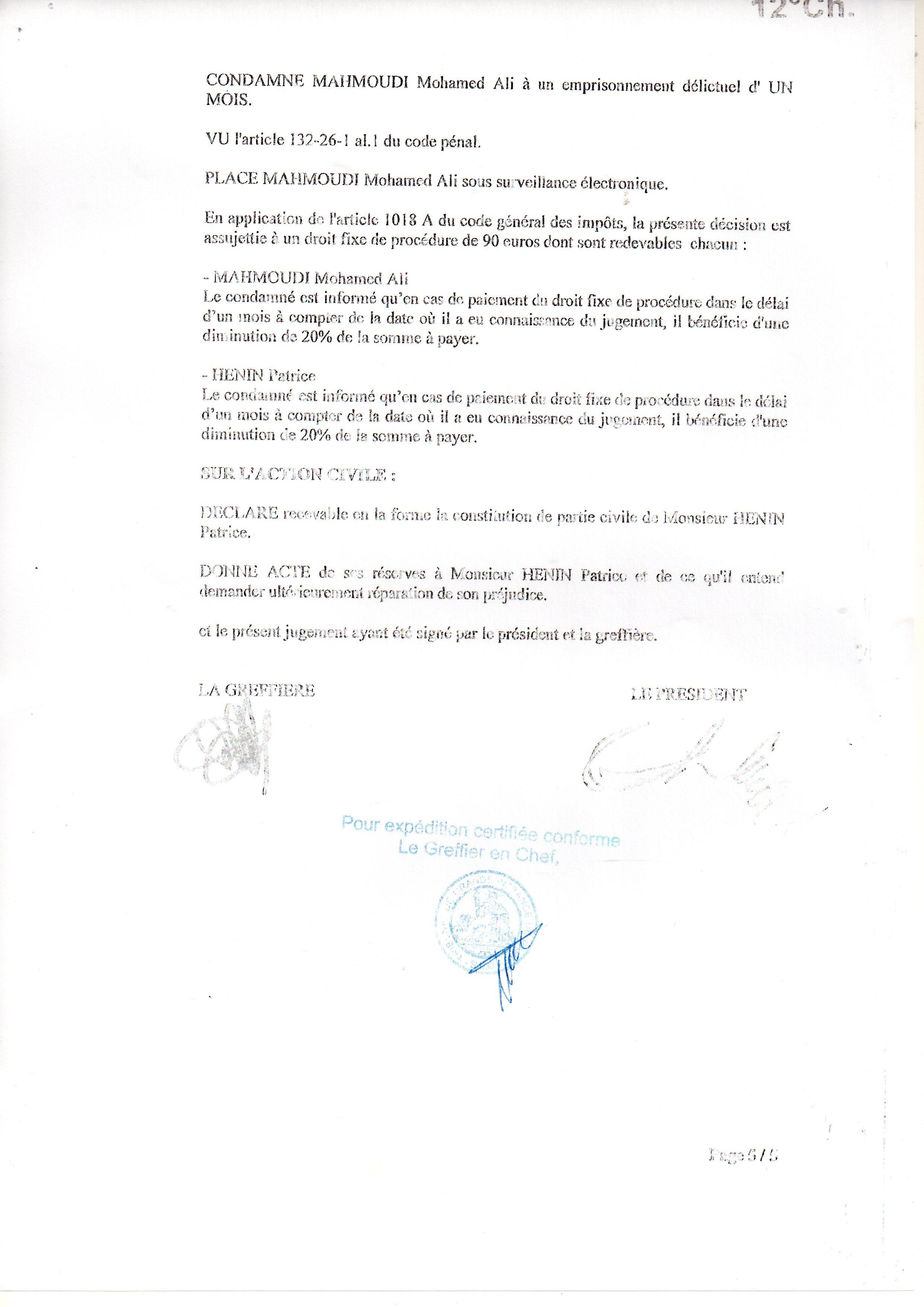 2013 12 18 jugement 12 me chambre correctionnelle nuit for Chambre correctionnelle paris
